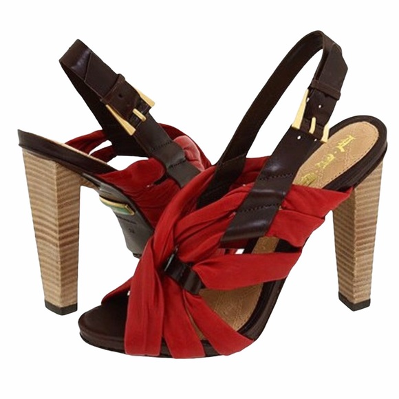 L.A.M.B. Tamika Heels Red and Brown Strappy 7